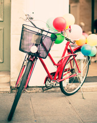 Vintage bicycle with balloons in Paris