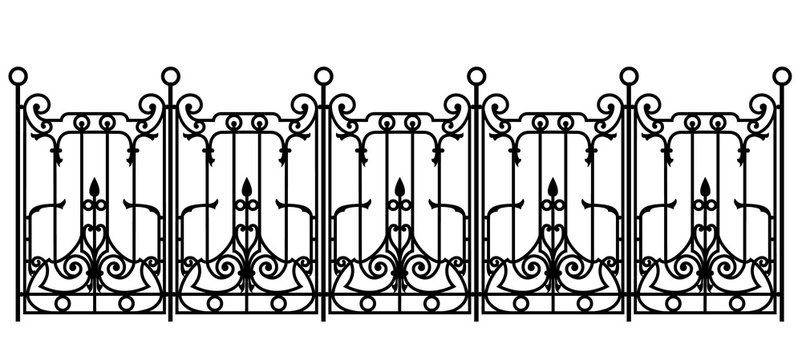 black forged fence