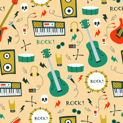 Seamless Pattern with Music Symbols and instruments.
