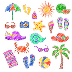 Set of handmade symbols and icons summer  and vacation on the  beach