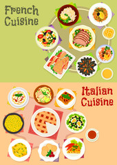 Italian and french cuisine dishes icon set design