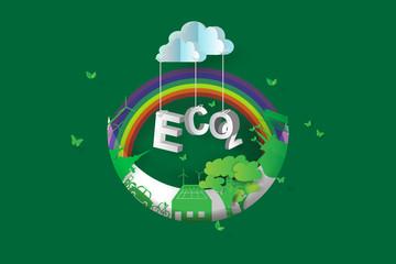 eco green city design,Crescent Moon,3d,isometric,rainbow,paper art,vector