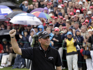 Bjorn of Denmark celebrates on the 18th green after winning the European Masters in Crans-Montana
