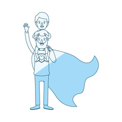 blue silhouette shading cartoon full body super dad hero with boy on his back vector illustration