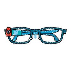 smart glasses technology draw vector icon illustration graphic design