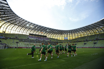 Ireland's soccer players attend a training session for the Euro 2012  at PGE Arena Stadium in Gdansk