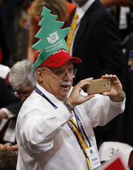 A Washington State delegate takes a photo at the Republican National Convention in Cleveland