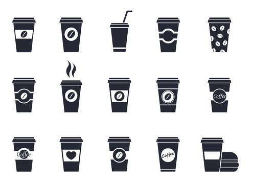 Disposable cup of coffee, flat vector icons set