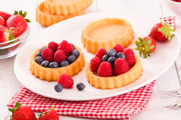 Tartlets with forest fruits.