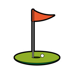 hole ball and flag golf related icon image vector illustration design