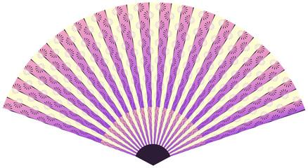 asian fan with linear flower pattern in purple shades