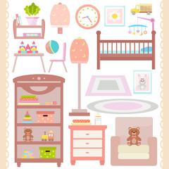 Baby room furniture icon set. Nursery  interior. Flat design. Vector illustration.
