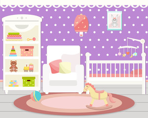 Baby room interior. Flat design.