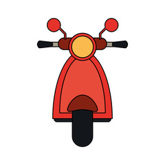 color image front view red scooter motorcycle vector illustration