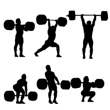 Clean and Jerk Silhouette of weightlifter