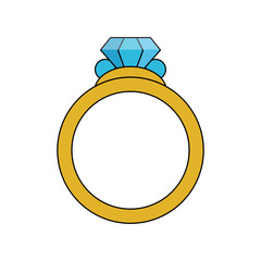 color image diamond engagement ring vector illustration