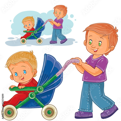 Vector clip art illustration older brother wheeled baby stroller ...
