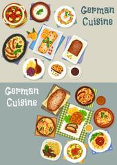 German cuisine festive dinner icon set design