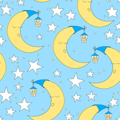 Seamless moon and star pattern vector illustration. Cute baby wallpaper for nursery or clothes. Good night background. Hand drawn texture.