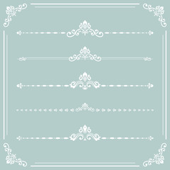 Vintage set of vector decorative elements. Horizontal white separators in the frame. Collection of different ornaments. Classic pattern. Set of vintage patterns