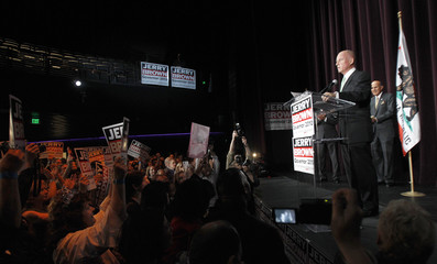 Brown talks during his election night party in Los Angeles