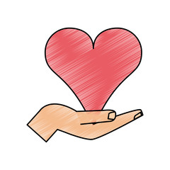 color pencil image hand holding a heart vector illustration