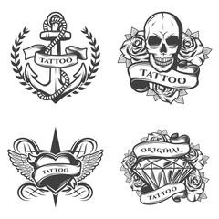Vintage Tattoo Studio Emblems Set