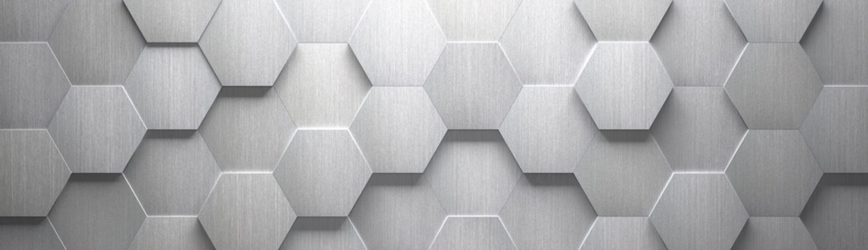 Wide Brushed Metal Hexagon Background (Site head) (3d illustration)