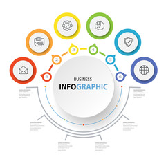 Abstract Circle Business options, Marketing. Concept Infographics icons for layout, diagram, annual report, web design. Illustration vector.