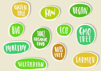 Set of paper stickers with handwritten lettering for bio, eco, organic foods and vegetables.