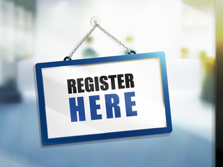 register here text sign