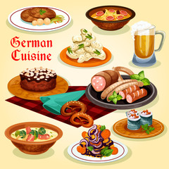 German cuisine national dishes cartoon icon