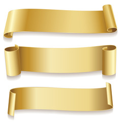 Ribbons golden isolated on white background. Holidays icon.