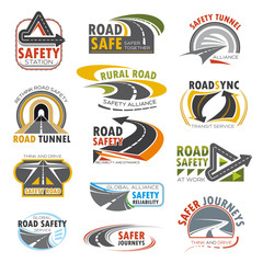 Road highway, turn of freeway, crossroad icon set