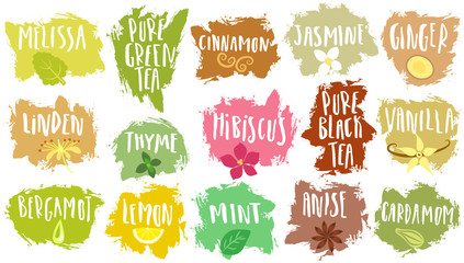 Vector set of trendy emblems for tea packing. Various natural additives for drinks with handwritten annotation on blots.