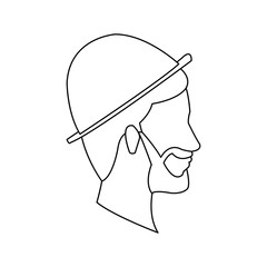 bearded head man profile with hat outline vector illustration