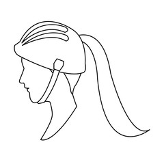 profile head woman with sport helmet outline vector illustration