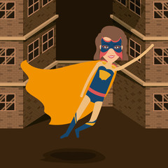 colorful background buildings brick facade with superheroin woman in outfit flying vector illustration