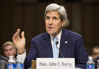 """Secretary of State John Kerry testifies at a Senate Foreign Relations Committee hearing on """"U.S. Strategy to Defeat the Islamic State in Iraq and the Levant"""" on Capitol Hill in Washington"""