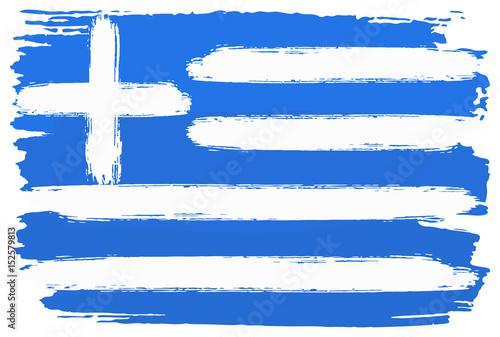 Flagge von Griechenland mit Pinselstrichen gemalt  Stockfotos und