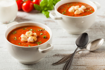 Traditional tomato soup, served with croutons.