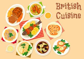 British cuisine tasty dishes icon for menu design