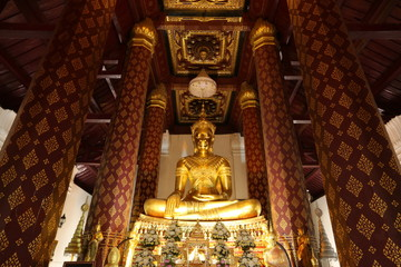 Buddha statue ,Wat Naphra meru Temple , Ayutthaya Historical  Park  < Thailand
