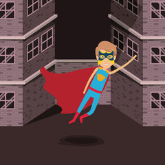 sepia color background buildings brick facade with superhero man with costumes and flying vector illustration