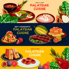 Malaysian cuisine and asian food banner set