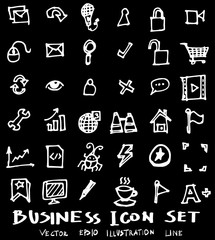 Business set sketch vector ink doodle on chalkboard