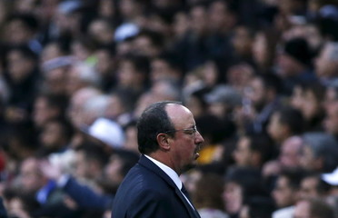 Real Madrid's coach Rafael Benitez reacts during the match