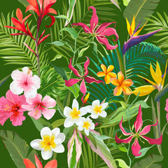 Tropical Seamless Vector Floral Summer Pattern. For Wallpapers, Backgrounds, Textures, Textile, Cards.