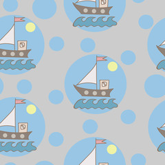 Seamless pattern with soft color ship with flag and blue wave