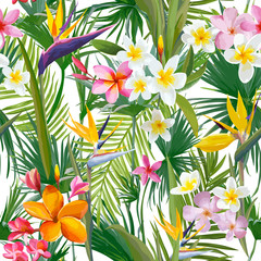 Tropical Palm Leaves and Flowers, Jungle Leaves Seamless Vector Floral Pattern Background